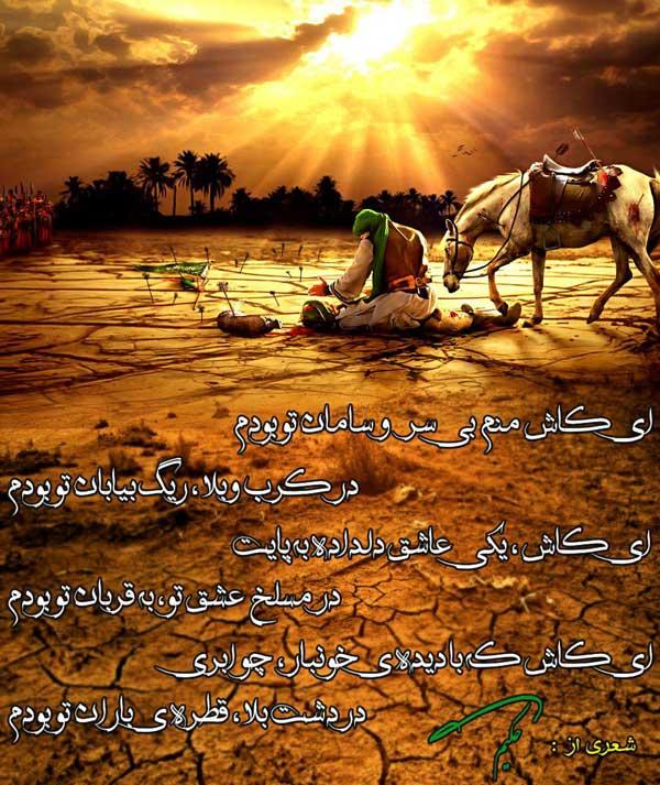 عکس نوشته امام حسین با شعری از حکیم