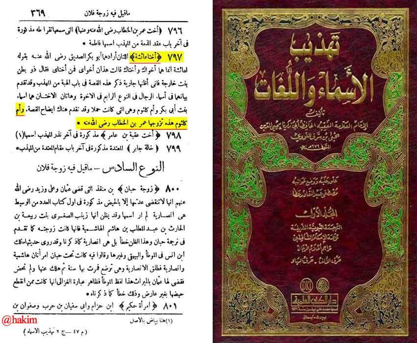 اُمّ کلثومی که با عمر ازدواج کرد ، دختر ابوبکر است نه علی (ع)